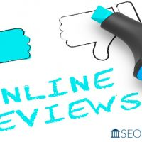 cartoon image of a thumbs up/thumbs down representing online reviews