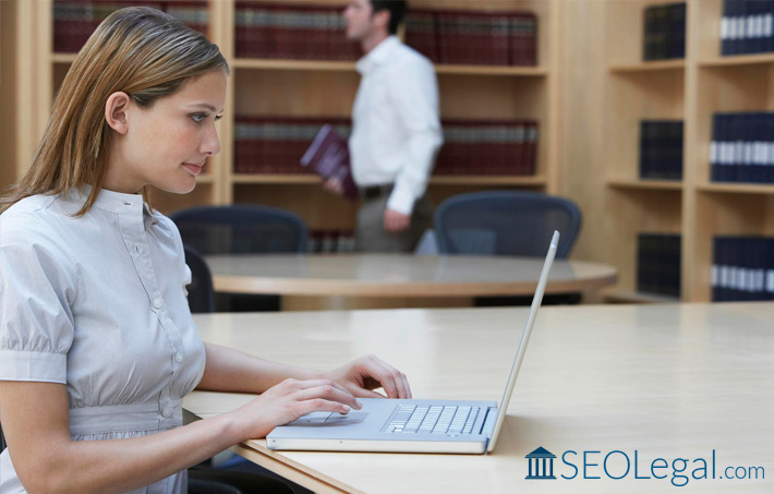 Lawyer analyzing SEO metrics of law firm